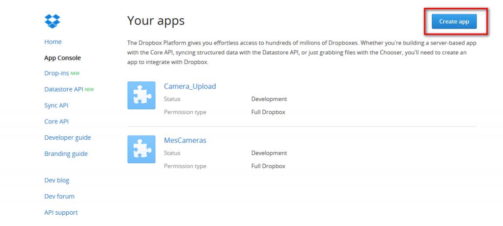 Sauvegarde Camera IP sur Dropbox - créer application