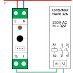 Schéma du module DIN Qubino relié à un commutateur