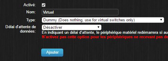 Domoticz - intégration du fil pilote, interrupteur virtuel