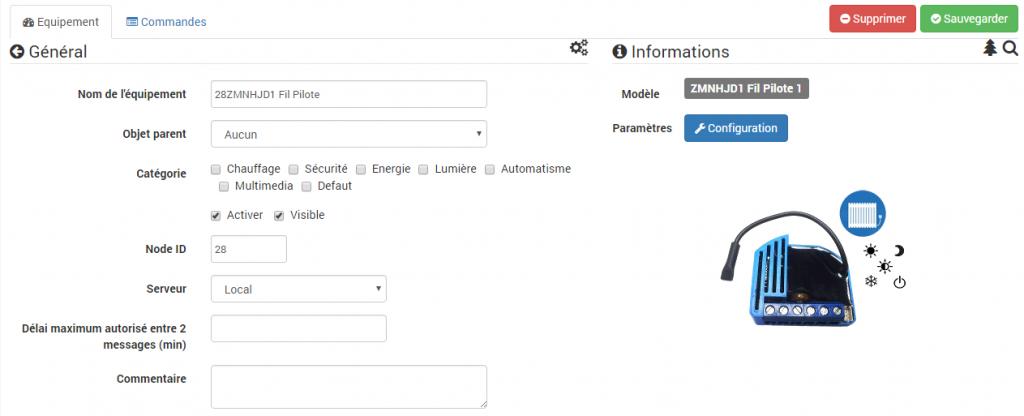 Jeedom : inclusion du module fil pilote encastrable