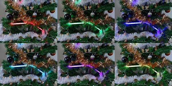 Coloris LEDs RVB sur sapin