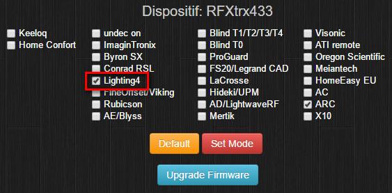 Activer Lightning4 dans la configuration du RFXCom