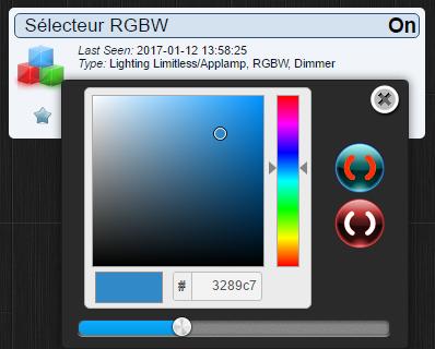 Sélecteur RGBW dans Domoticz