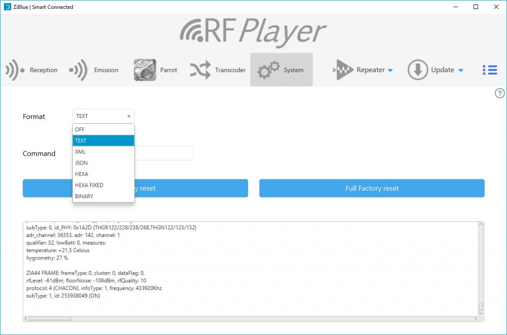 Onglet système du logiciel du RFPlayer