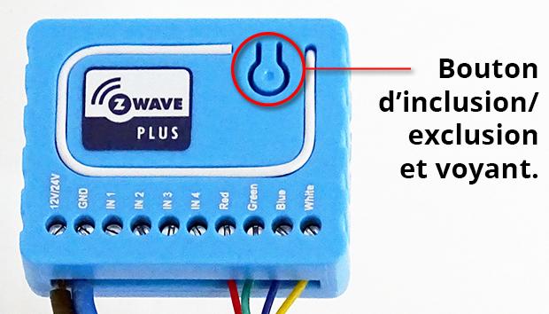 Bouton d'inclusion Z-Wave et voyant