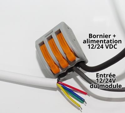 Utilisation d'une borne wago pour brancher les câbles d'un module RGBW