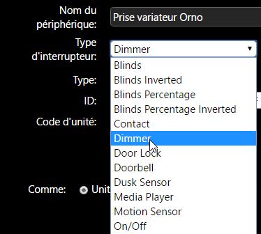 RFPlayer et Domoticz : ajout d'un appareil type Dimmer