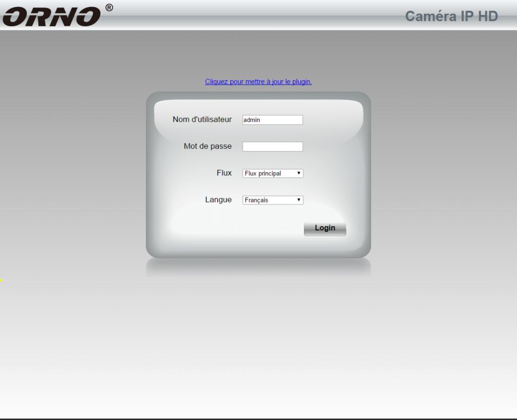 Connexion via navigateur sur la caméra IP Orno