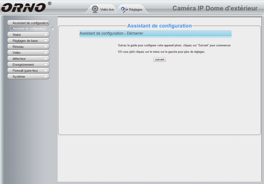 Assistant d'installation de la caméra IP Orno