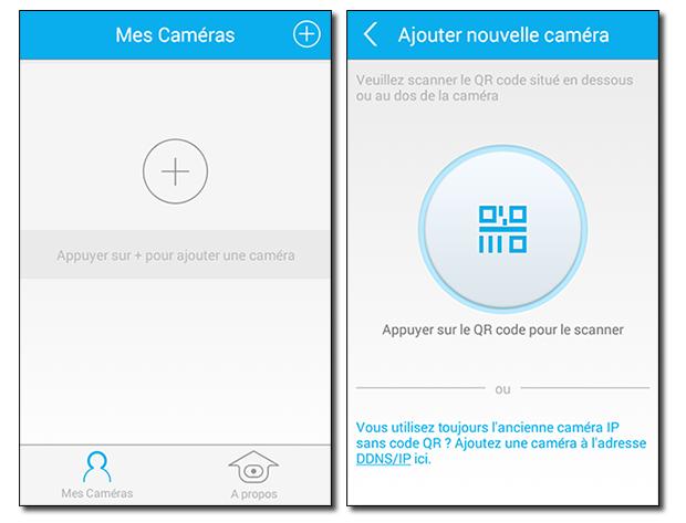 Application Caméra IP Orno : ajout / QR Code