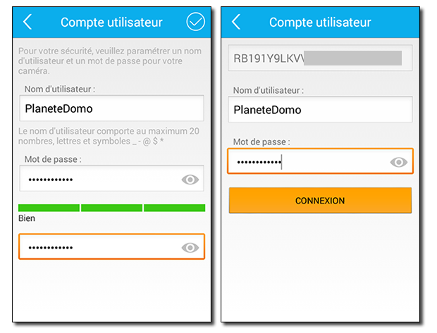 Application Caméra IP Orno : personnalisation compte administrateur