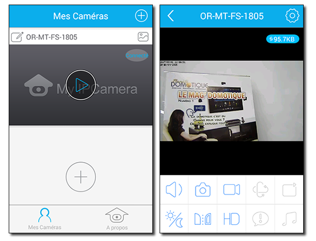 Visionnage et pilotage Application Caméra IP Orno