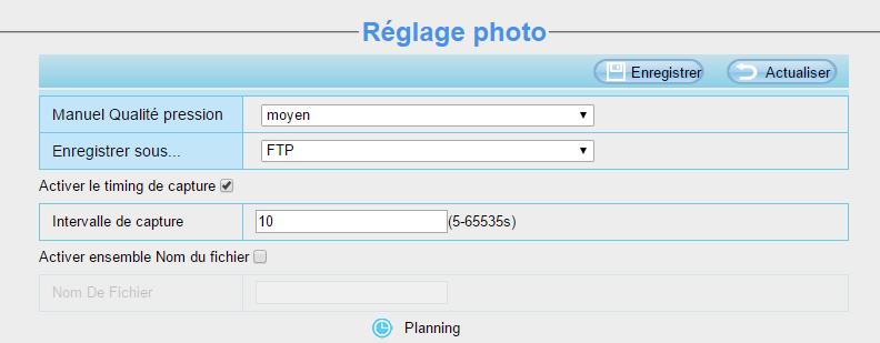 Caméra IP Orno et eedomus : réglages photo côté caméra