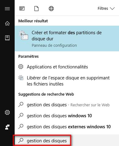Gestion des disques sous Windows 10