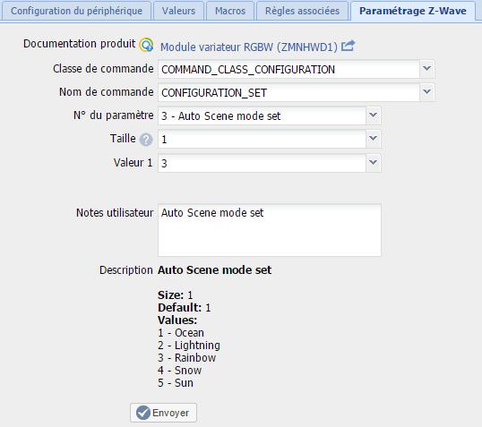 Configuration du module RGBW