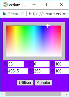Choix de couleur dans l'eedomus