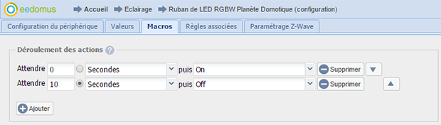 Macros on et off sur le module RGBW