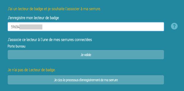 Saisie de l'identification du lecteur de badge RFID de la serrure connectée Somfy