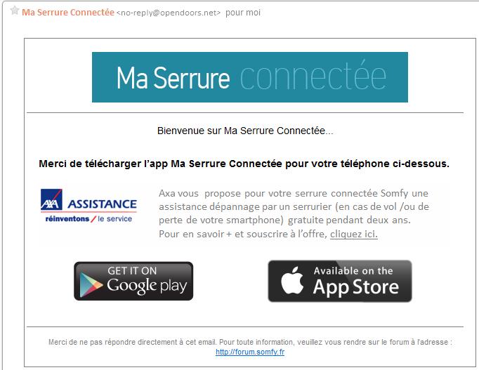 Serrure connectée : envoie d'un e-mail pour la réception de l'application