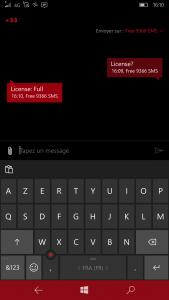 Réponse SMS au sujet de la licence installée sur un produit IQTronic