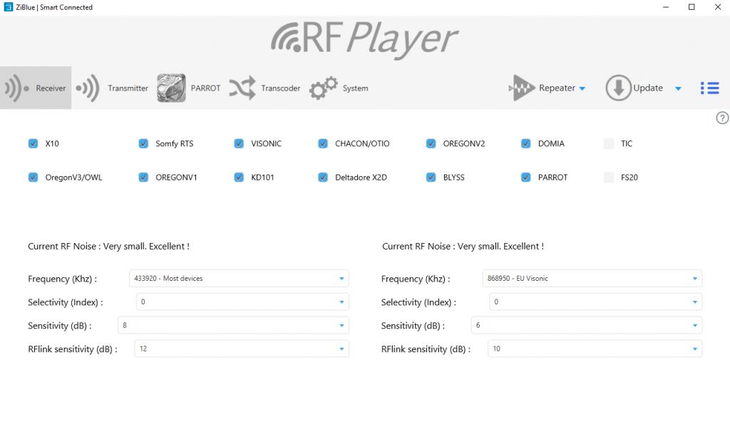 Interface de l'application