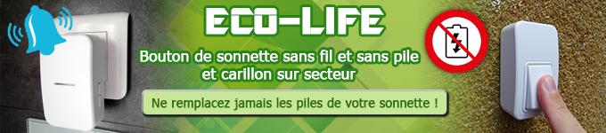 ECO-LIFE  : bouton de sonnette sans pile et carillon