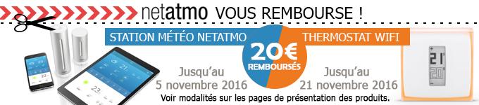 Netatmo vous rembourse 20€ sur la station météo et le thermostat Starck !