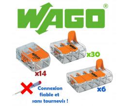 Lot de 50 borniers de connexion avec levier (bornes : 14x2 + 30x3 + 6x5) - WAGO