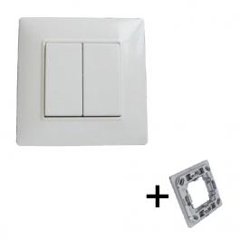 Interrupteur double blanc sans fil