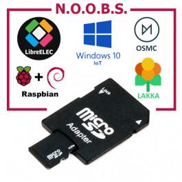 Carte Micro SD 8Go (adaptateur inclus) avec Noobs Raspberry PI pré-installé
