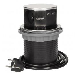Multiprise escamotable cylindre 3 prises 230V et 2 USB - Orno