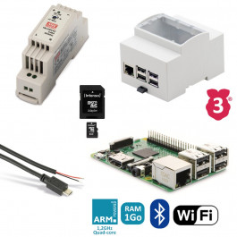 Kit de démarrage Raspberry 3B Rail Din (alimentation, boitier, câbles...)
