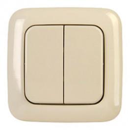 Cadre et double bouton finition BJ creme pour interrupteur mural sans fil