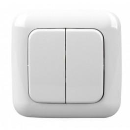 Cadre et double bouton finition BJ articwhite pour interrupteur mural sans fil