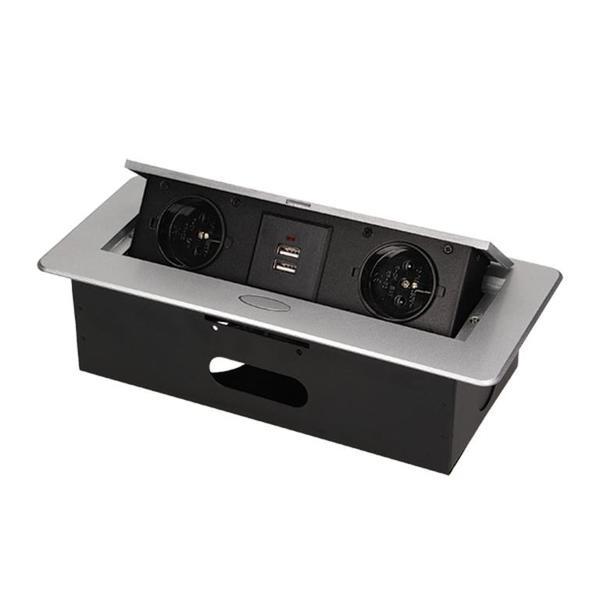 bloc escamotable avec 2 prises 230v 2 prises usb orno. Black Bedroom Furniture Sets. Home Design Ideas