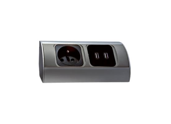 bloc prises cuisine avec 2 prises usb pour charger vos appareils orno. Black Bedroom Furniture Sets. Home Design Ideas