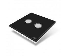 Interrupteur sans fil Edisio modèle Elegance Noir 2 touches avec base Blanche