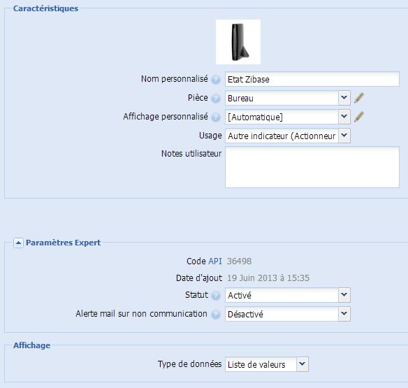 Zibase vers eeDomus : actionneur virtuel