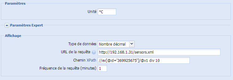 Interrogation de sondes Zibase via xml dans eedomus