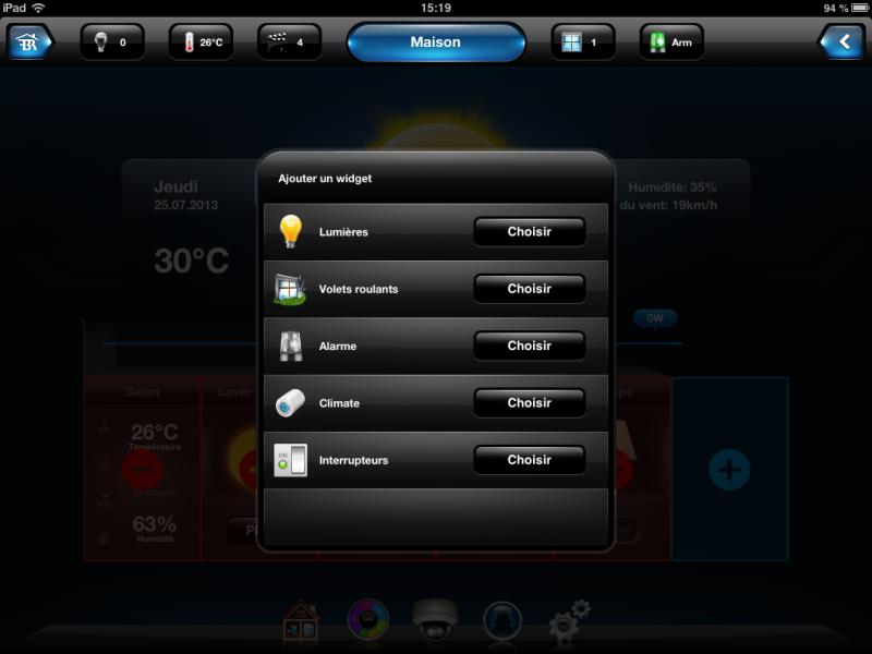 Appli iPad de la HC2 : personnalisation des widgets