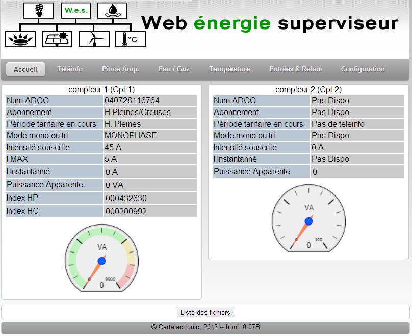 Capture d'écran du Web Energie serveur