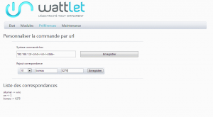 Wattlet web : URL de commande