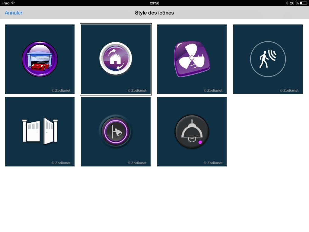 Sets d'icone de la nouvelle appli iPad de Zibase