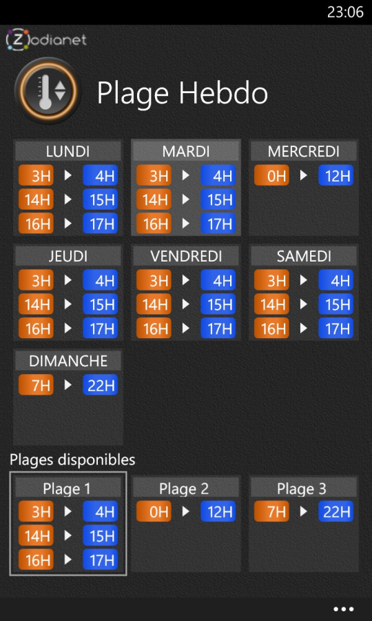 Planning sur Zibase pour Windows Phone