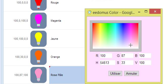 Choix de couleurs RGBW de Zipato dans l'eeDomus