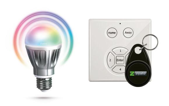 L'ampoule RGBW et le clavier/lecteur de badge RFID de Zipato