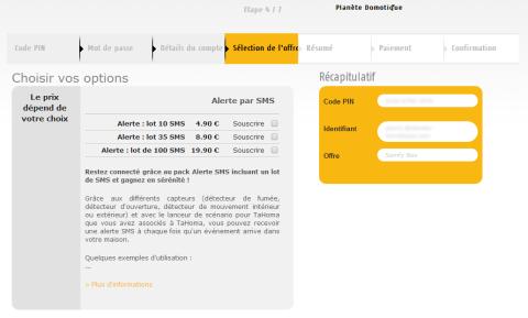 Inscription site Somfy - choix des services