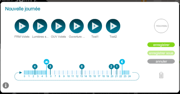 Somfy Box : utilisation du semainier, création de journée