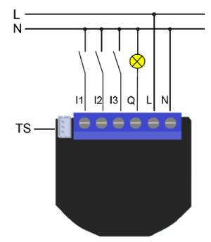 Schéma de branchement du Qubino 1 relais