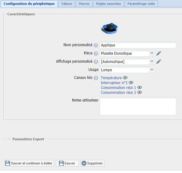 eeDomus Configuration du module Qubino 2 relais